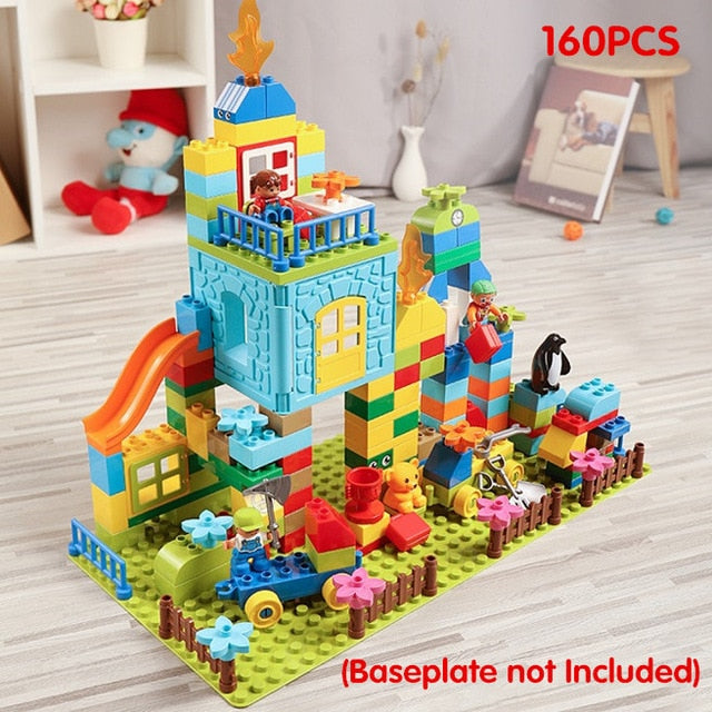 Big Size Building Blocks 160-211pcs Amusement Park Marble Run Model Building Toys Kids Educational Compatible building blocks