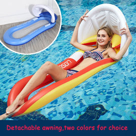 160cm Inflatable Float Toys with Awning Ride-ons Swimming Pool Water Play Sports Summer Outdoor Game for Adults Kids