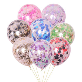 5pcs/lot Gold Sequin Balloons Confetti Transparent Balloons Happy Birthday Baby Cartoon Hat Wedding Party Decorations