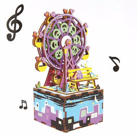 Creative DIY Box with Music 3D Wooden Puzzle Toy Carousel Robot Ferris Wheel Musical Assembly Boxes for Kids Children Baby