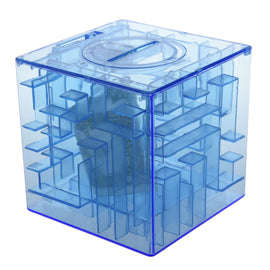 Plastic Cubic Money Maze Bank Saving Coin Collection Case Box 3D Puzzle (Blue)