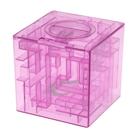 Plastic Cubic Money Maze Bank Saving Coin Collection Case Box 3D Puzzle (Pink)