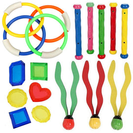 18PCS/Pack Diving Pool Toy Set Diving Ring Stick Aquatic Grass Gem outdoor sports toy