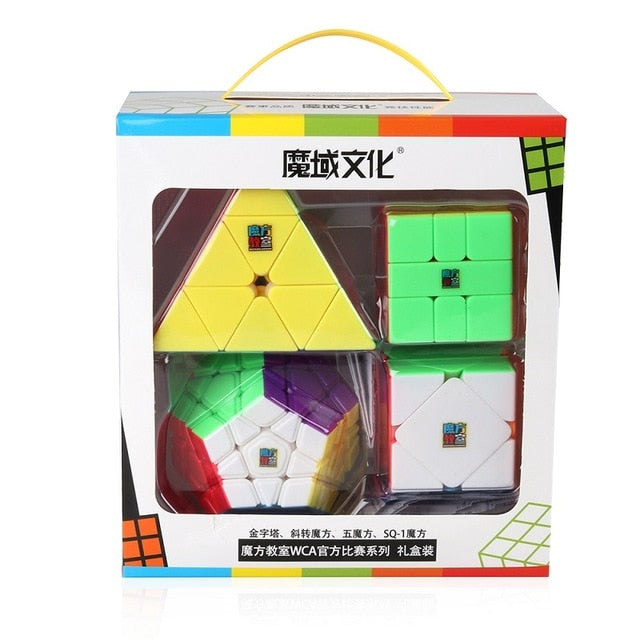 Magic Cube Set Pyramid Skew Square 1 Dodecahedron Speed Cubes Puzzle Professional 4pcs Toys