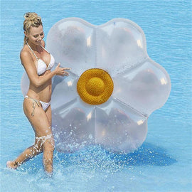 Lovely Summer Swimming  Floating Row Sequins Flower-shaped Swimming Air Mats Floating Mat Pool Beach Party Toy Water Fun Toys