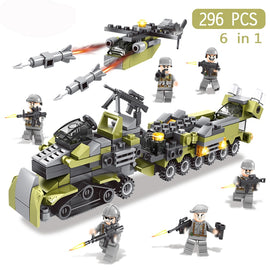 296Pcs 6in1 Military Swat Soldier with Army Weapons Building Blocks For Birthday Present Educational Toys For Children #E