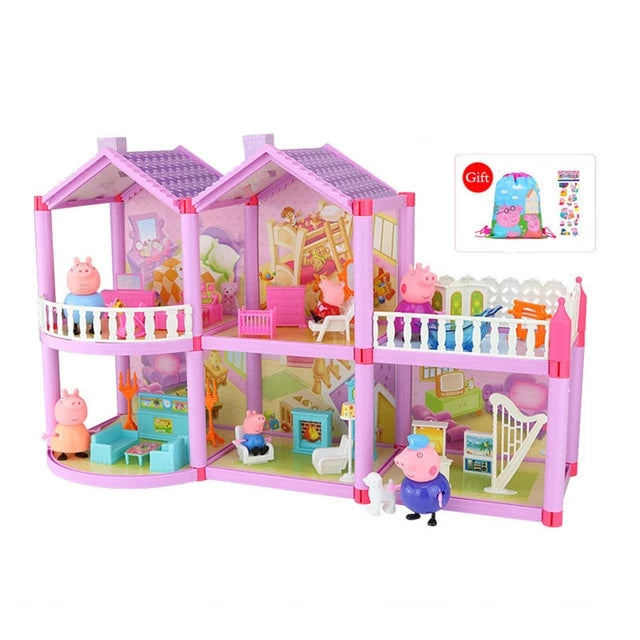 Camandetoy Genuine Peppa Pig DIY Toy Doll House Holiday Villa Model Action Figure Dolls Anime Figure Toys for Children Birthday Gifts P10