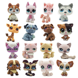 rare pet shop lps toy standing short hair cat figure original kitten husky puppy dog littlest animal collection free shipping