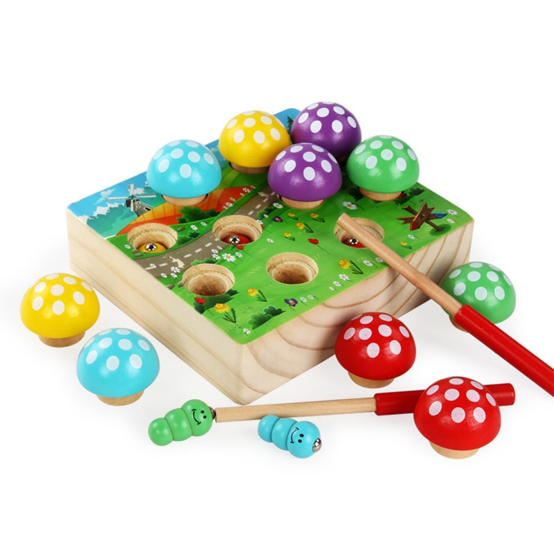 Montessori Materials Magnetic Fishing Mushroom Forest Insect Catching Kids Toy Wooden Magnets Educational Toys For Children