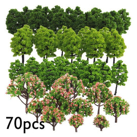 70pcs Green Model Mix Trees HO Z TT Scale Train Garden Park Buildings Diorama