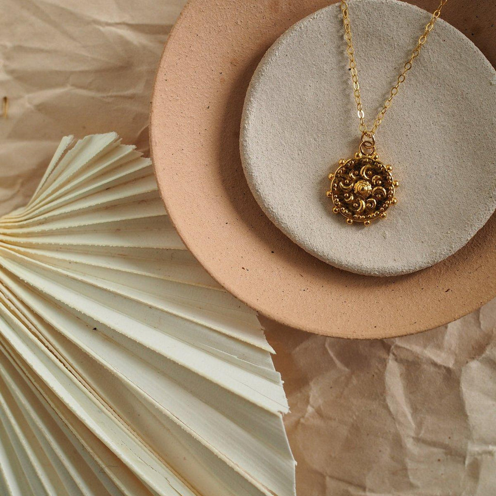 Sun Coin Charm Necklace - Silver, Gold