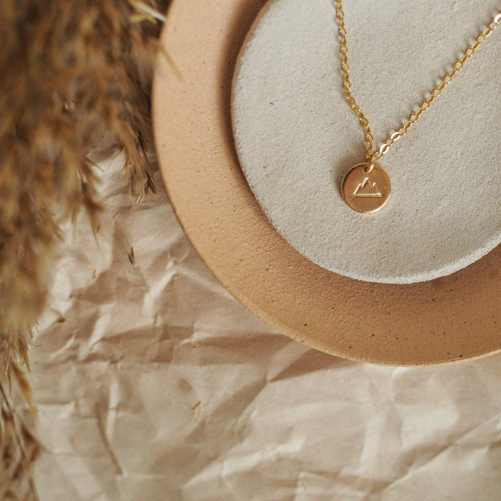 Mountain Charm Necklace - Gold, Sterling Silver