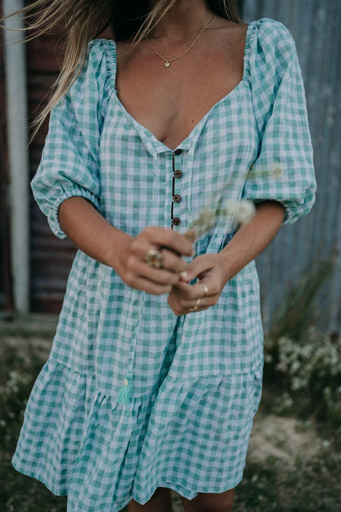 Ella Puff Sleeve Dress - Mint