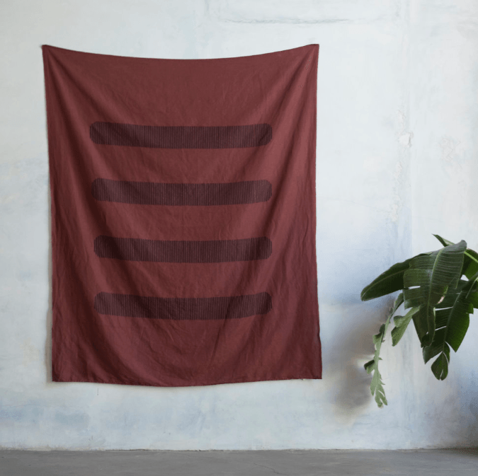 Kesslyr Dean - Red Block Printed Linen Throw