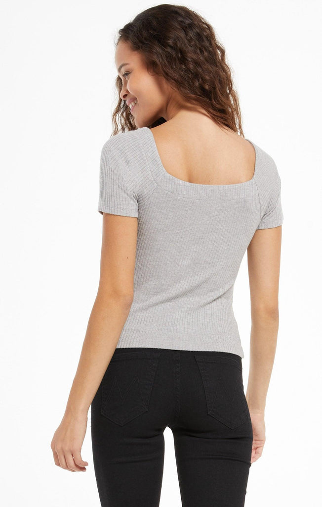 Lyla Rib Short Sleeve Top - Bone, Heather Grey, Black