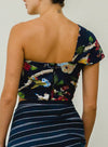 SOL ONE SHOULDER BANDEAU TOP - NAVY FLORAL