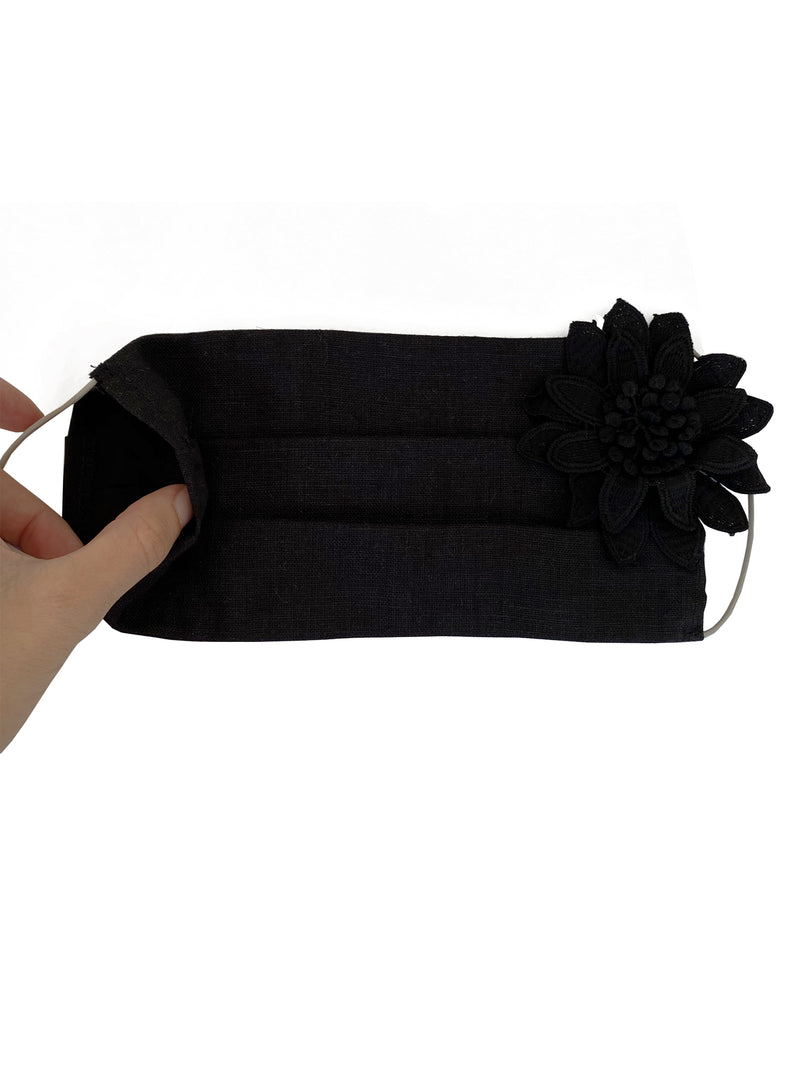 Black Linen Face Mask (with Flower)