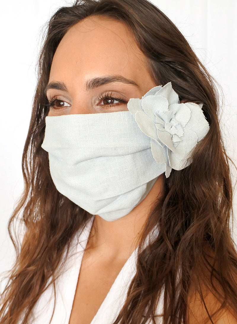 Sky Blue Linen Face Mask (with Flower)