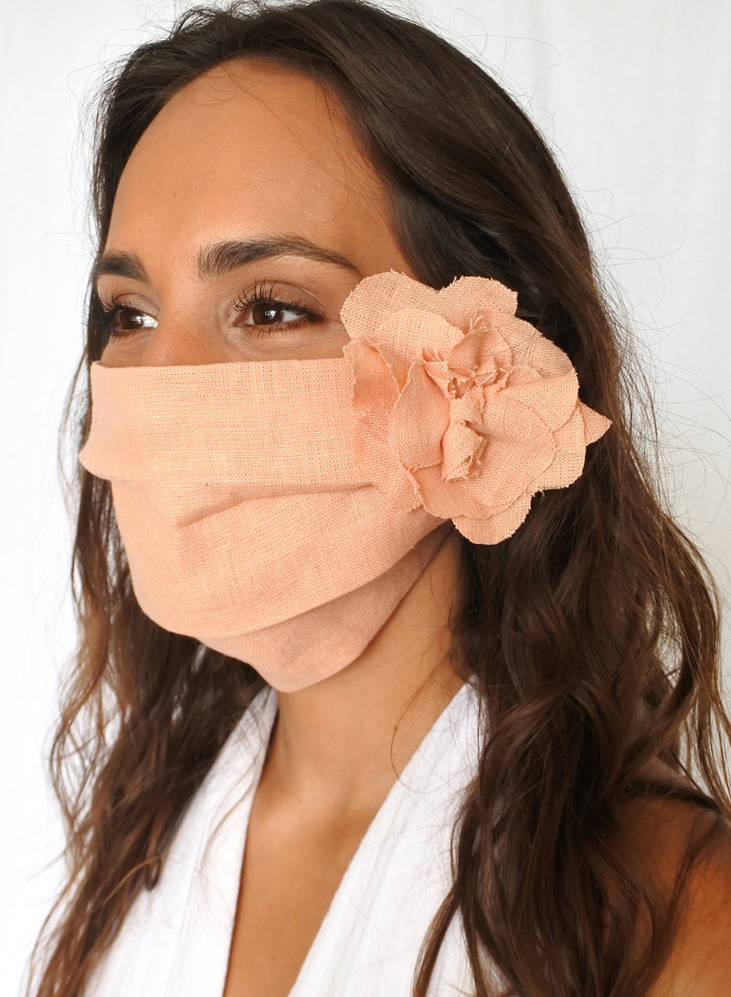 Peach Linen Face Mask (with Flower)