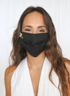 Black Linen Face Mask (with Bee)