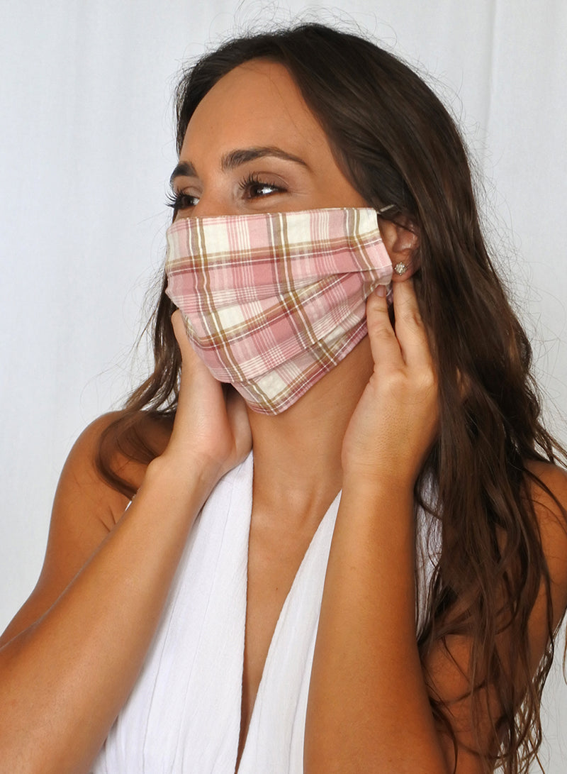 Pink Plaid Face Mask