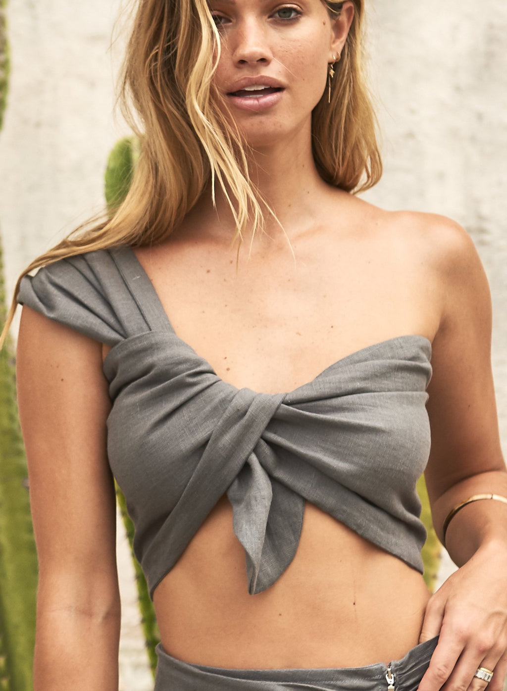 Sol One Shoulder Bandeau Linen Top