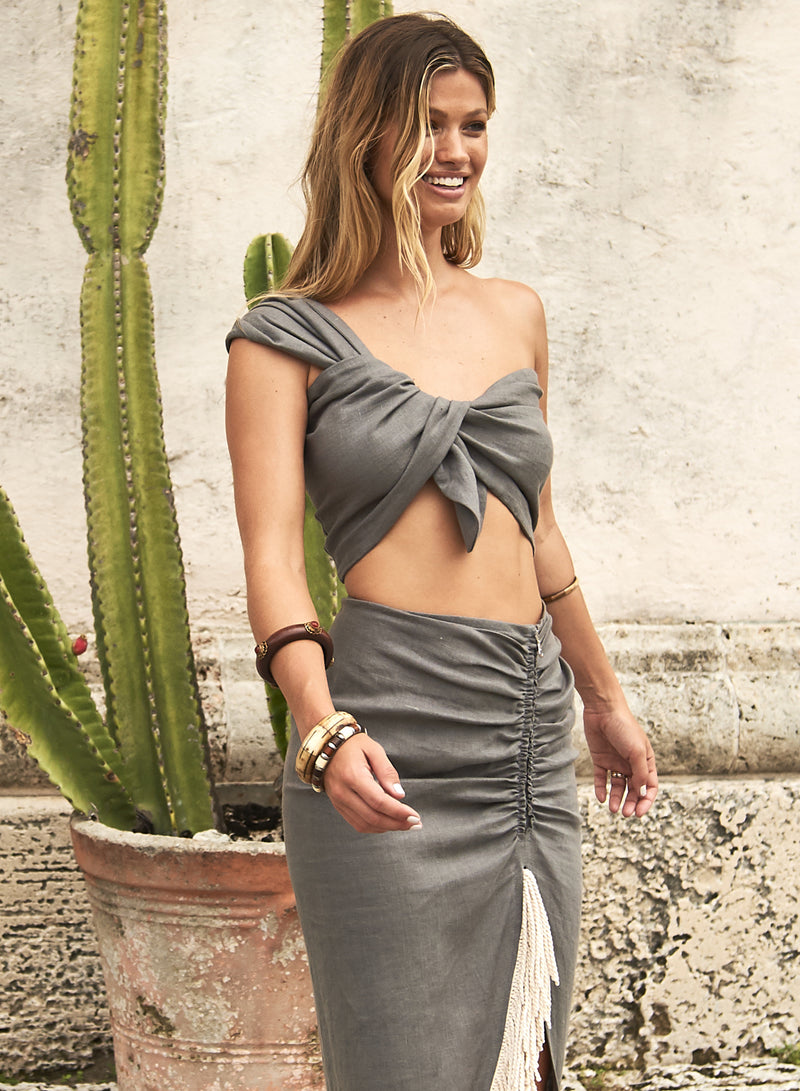 SOL ONE SHOULDER BANDEAU TOP -  ASPHALT