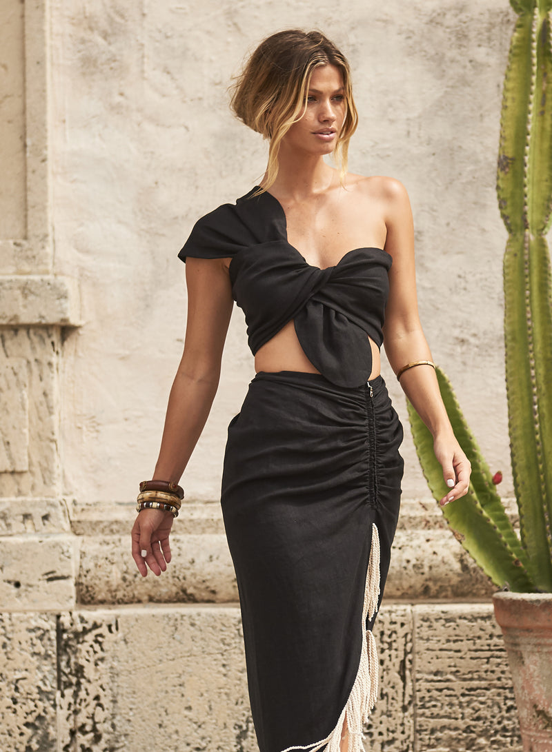 SOL ONE SHOULDER BANDEAU TOP - BLACK LINEN