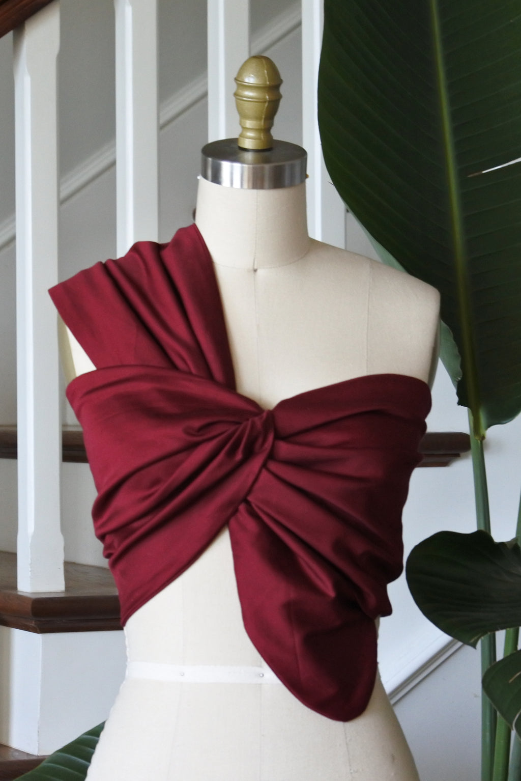 SOL ONE SHOULDER BANDEAU TOP - BURGUNDY