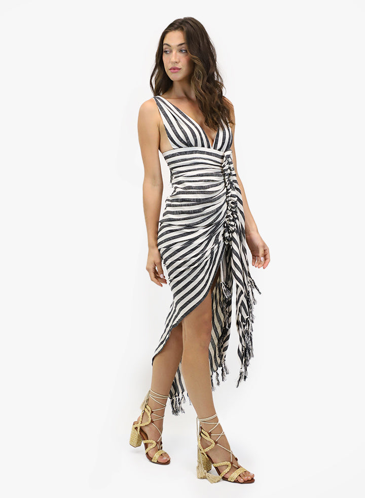 Tulum Dress Black Stripe