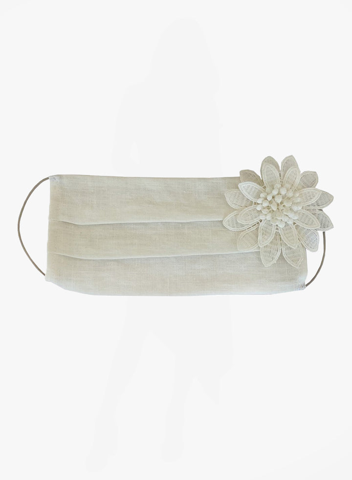 White Linen Face Mask (with Flower)