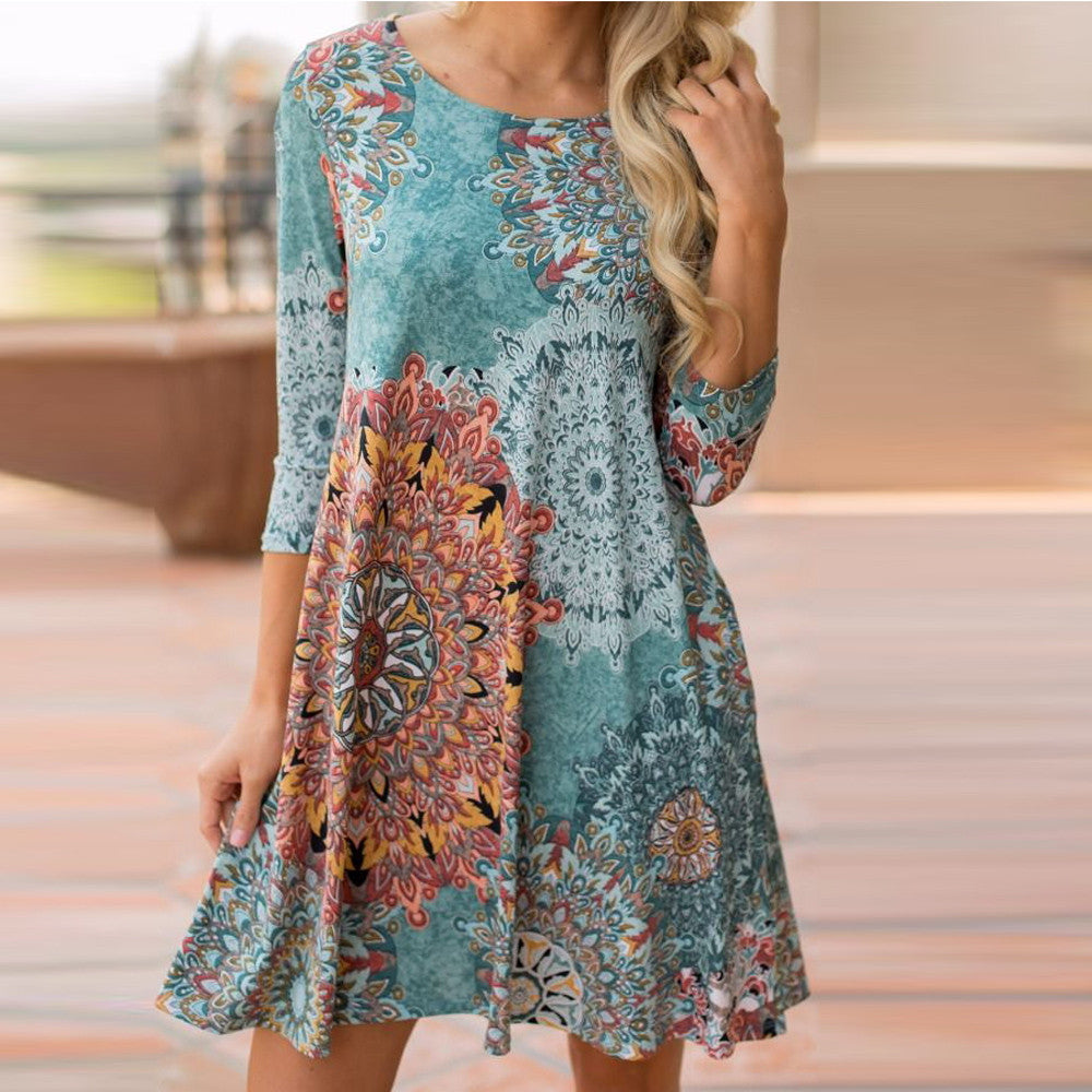 Womens Long Sleeve Vintage Boho Maxi Evening Party Beach Floral Dress