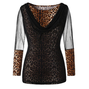Womens Long Sleeve Lace Mesh Leopard Print Shirt Casual Tunic Blouses Tops