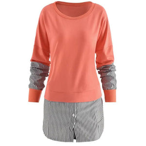 Womens Patchwork Striped Blouse Long Sleeve Scoop Neck Tunic Shirt