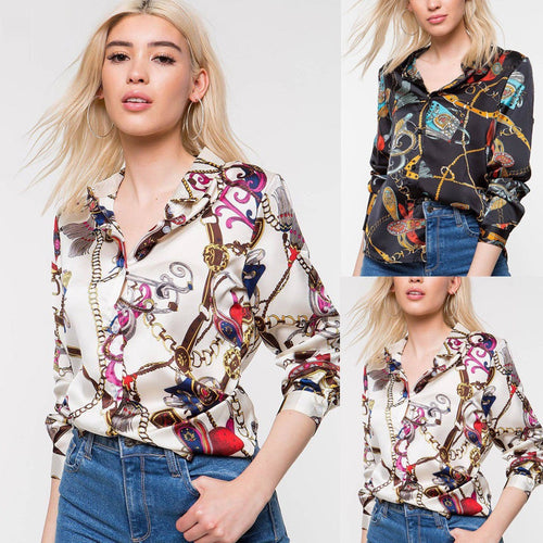 Womens Long Sleeve Chains Print Ladies Casual Shirt Tops V Neck Blouse Tee
