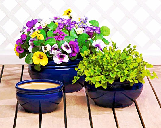 Ready™Patio Planter Flower Pot Trio Large Ceramic Planters