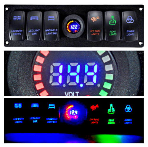 Ready™12V-24V 6 Gang LED Digital Voltmeter Marine Switch Pane Toggle Rocker Switch Panel