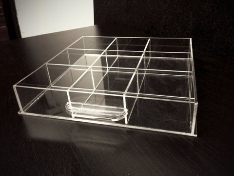 Nine-Compartment Acrylic Dividers for Makeup Organizer