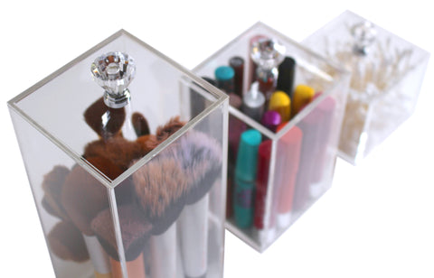 Acrylic Makeup Organizer Storage Box 3 Piece Set