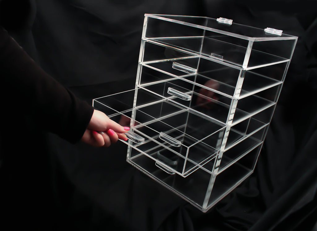Acrylic Makeup Organizer with 5  6  or 7 Drawers. 6 Drawer Acrylic Makeup Organizer  Clear Kardashian style storage