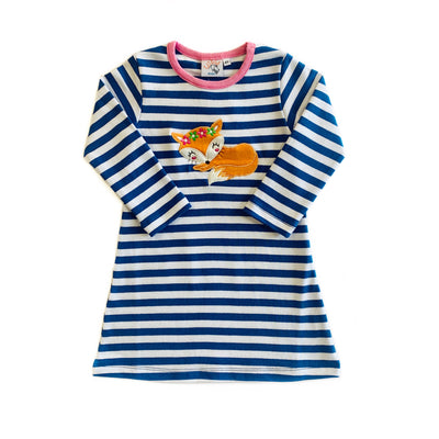 NAVY STRIPE FOX DRESS