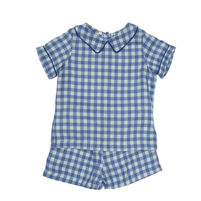 TATE BLUE CHECK SHORT SET