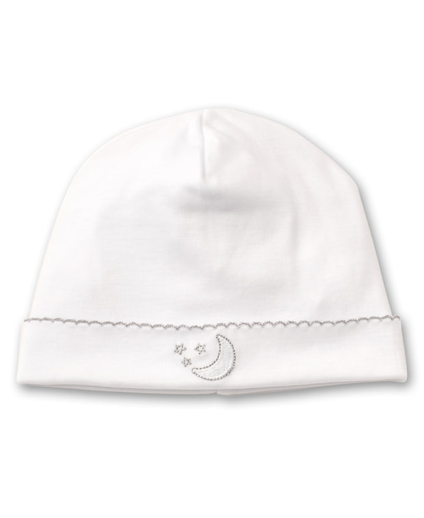 PIQUE NIGHT MOON BABY HAT IN WHITE