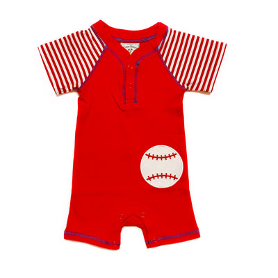 APPLIQUE BASEBALL ROMPER