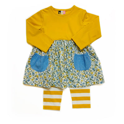 MUSTARD FLORAL POCKET LEGGING SET