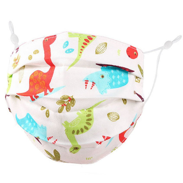KIDS GREEN, RED & BLUE DINO FABRIC FACE MASK
