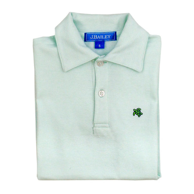 HENRY SHORT SLEEVE STRIPED POLO IN SEAGLASS
