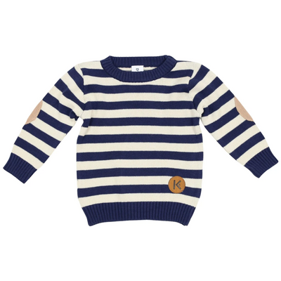 NAVY STRIPED KNIT SWEATER