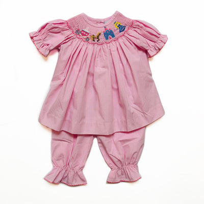 PINK CINDERELLA SMOCKED BLOOMER SET