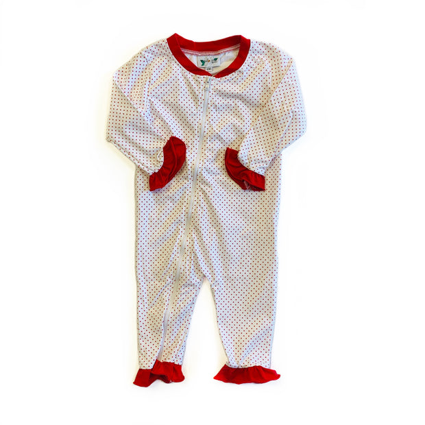 RED BITTY DOT ONSIE